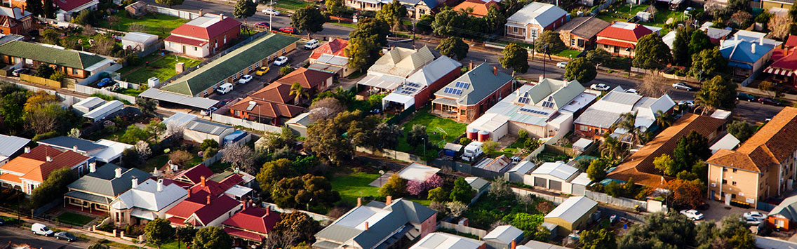aerial view of a suburb in Victoria