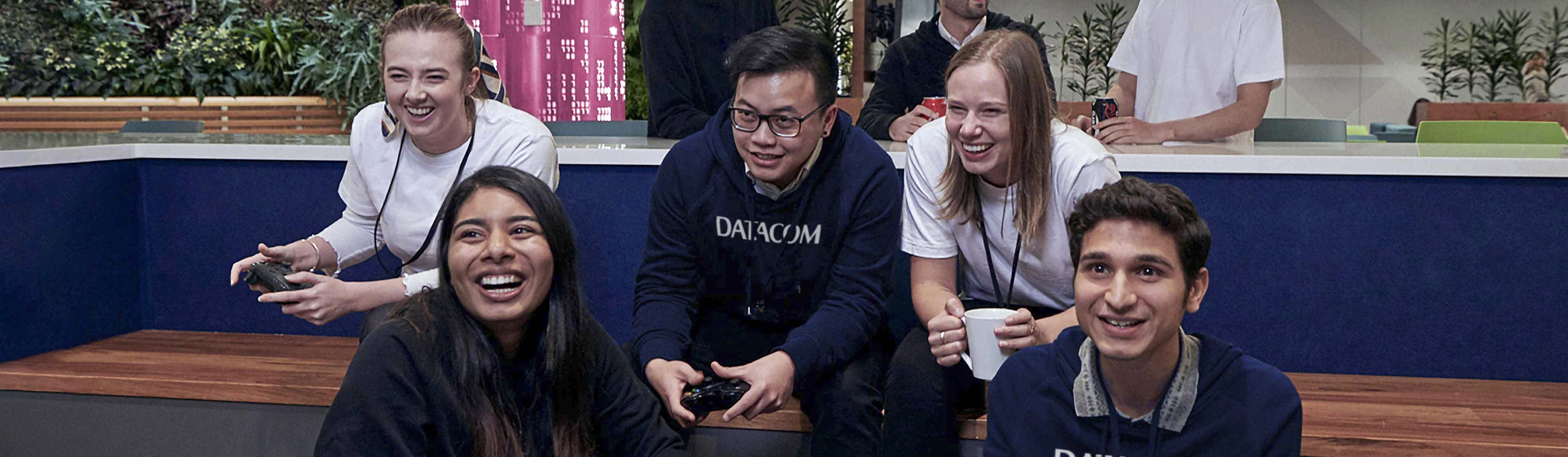 Datacom people playing games at the Datacom office in Auckland