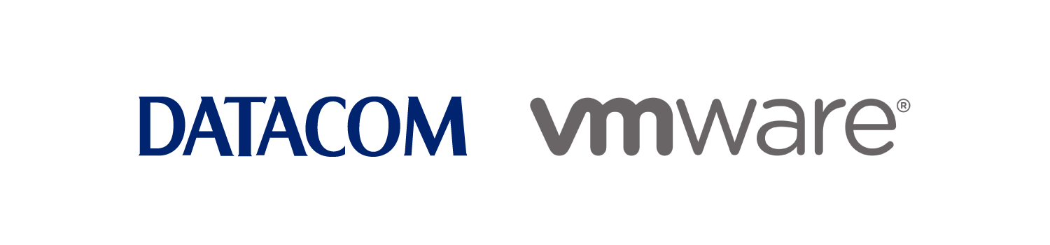 Brand logos for Datacom and VMware